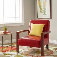 Clay Alder Home Roadster Burnt Red Leather Lounge Chair