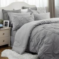 Bedsure Bed In A Bag Comforter Set Grey Pinch Pleat Down Alternative