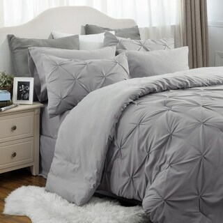 Bedsure Bed In A Bag Comforter Set Grey Pinch Pleat Down Alternative