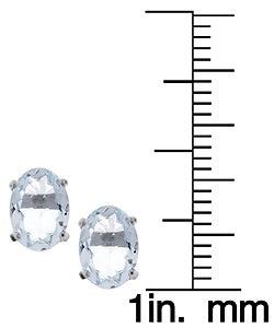 Kabella 14k White Gold Oval Aquamarine Stud Earring