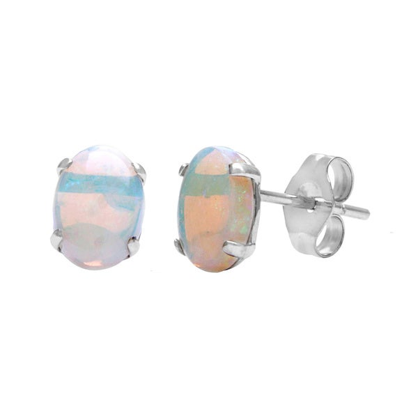 Kabella 14k White Gold Opal Oval Stud Earrings