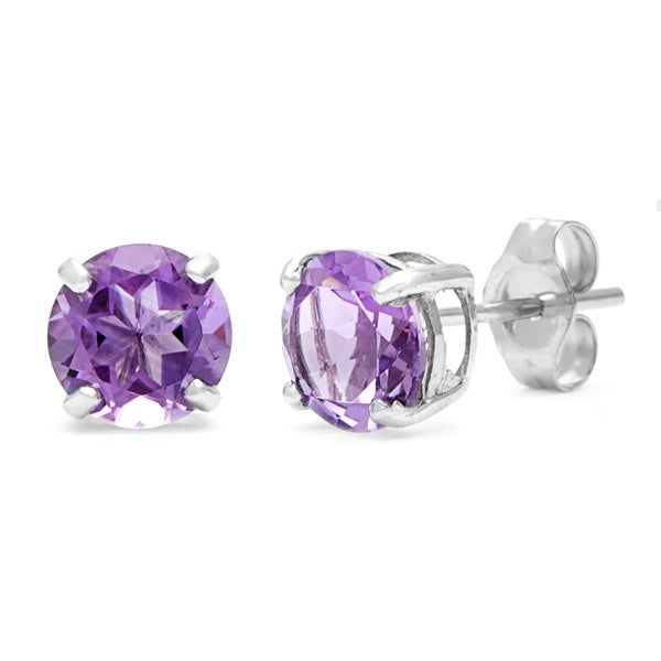Kabella 14k White Gold Birthstone Round Amethyst Stud Earrings