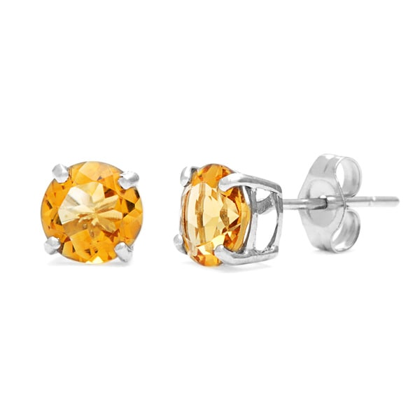 Kabella 14k White Gold Round Citrine Stud Earring