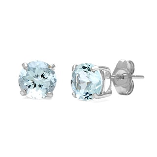 Kabella 14k White Gold Round Aquamarine Earrings