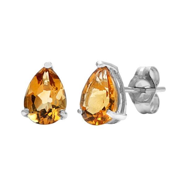 Kabella 14k White Gold Pear Citrine Stud Earring