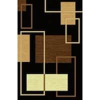 "Black Modern Area Rug 5x8 - 5'4"" x 7'5"""