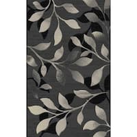 "Gray Floral Modern Area Rug 5x8 - 5'4"" x 7'5"""