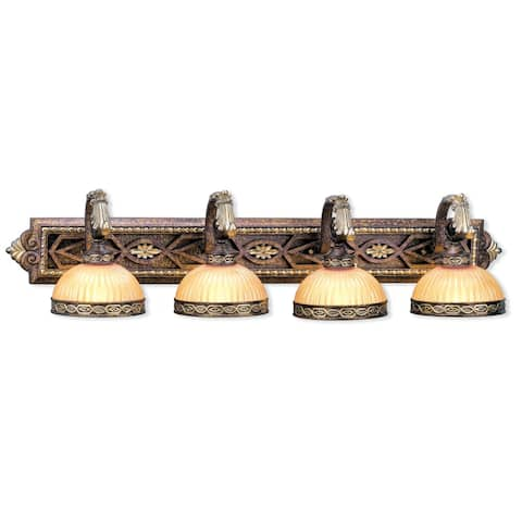 Livex Lighting Seville 4 Light Palacial Bronze with Gilded Accents Bath Vanity