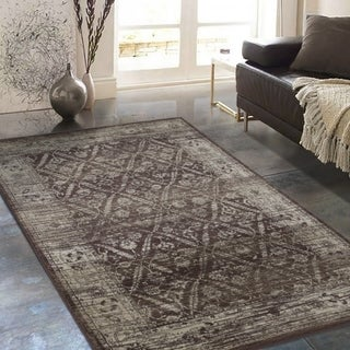 "Allstar Rugs Distressed Chocolate and Mocha Rectangular Accent Area Rug with Beige Diamond Lattice Design - 7' 6"" x 9' 8"""