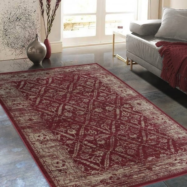 """Allstar Rugs Distressed Wine Red and Burgundy Rectangular Accent Area Rug with Beige Diamond Lattice Design - 4' 11"""" x 7' 0"""""""