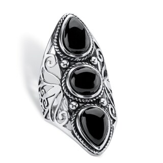 Sterling Silver Antiqued and Black Glass Ring