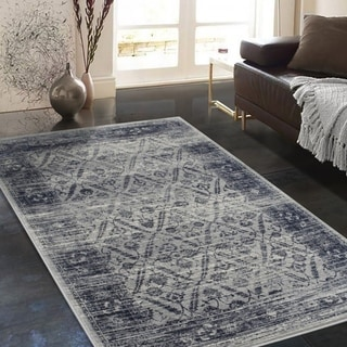 """Allstar Rugs Distressed Ivory and Gray Rectangular Accent Area Rug with Black Diamond Lattice Design - 4' 11"""" x 7' 0"""""""