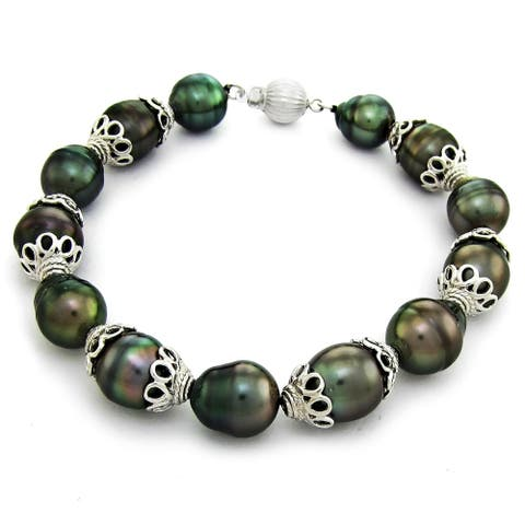 DaVonna Sterling Silver Cup 9-11mm Black Baroque Tahitian Pearl Bracelet
