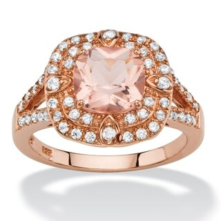 Rose Gold-plated Sterling Silver Glass and Round Ring Cubic Zirconia