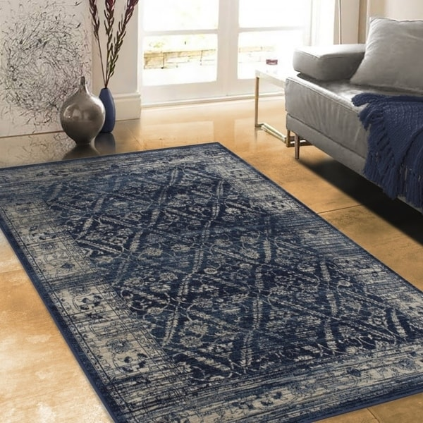 Allstar Rugs Distressed Midnight Blue and Steel Blue Rectangular Accent Area Rug with Beige Diamond Lattice Design