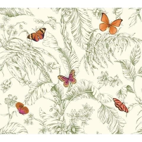 Papillon Wallpaper, 27 in. x 27 ft. = 60.75 sq.ft. - 7 in. x 27 ft. = 60.75 sq.ft.