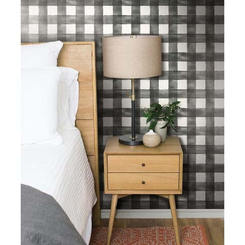 Watercolor Check Removable Wallpaper, 20.5 in x 33 ft - 20.5 in. x 33 ft. = 56 sq.ft