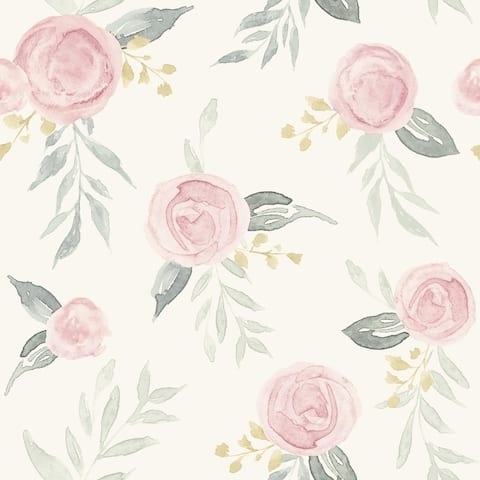 Watercolor Roses Wallpaper, 20.5 in. x 33 ft. = 56 sq ft