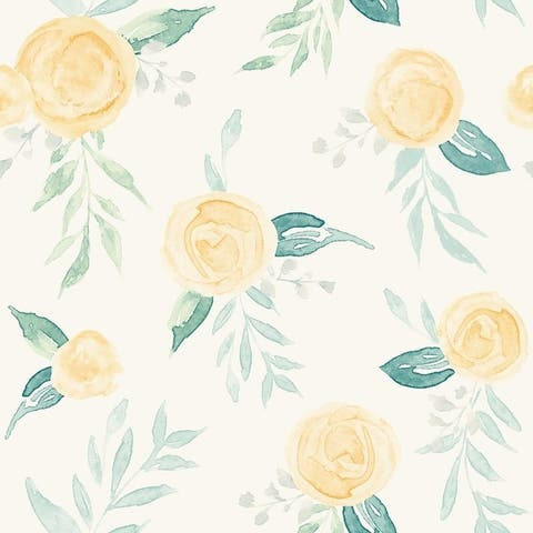 Watercolor Roses Wallpaper 20.5 in x 33 ft - 20.5 in. x 33 ft. = 56 sq ft