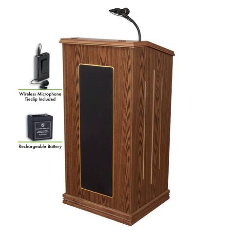 Oklahoma Sound Prestige Sound Lectern, Rechargeable Battery W/Wireless Tie Clip/Lavalier Mic