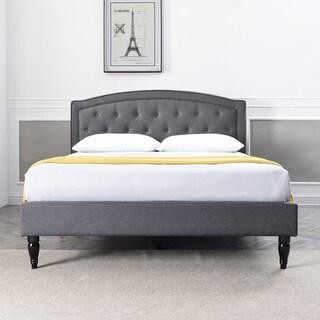 PostureLoft Wellington Grey Upholstered Platform Bed Frame