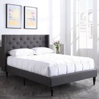 PostureLoft Bedford Grey Upholstered Platform Bed Frame