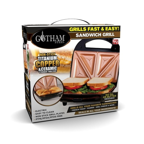 Gotham Steel Sandwich Maker & Panini Grill with Ultra Nonstick Copper Surface, Make 2 Sandwiches at Once in Minutes!. Opens flyout.