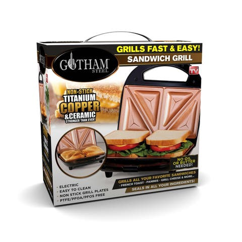 Gotham Steel Sandwich Maker & Panini Grill with Ultra Nonstick Copper Surface, Make 2 Sandwiches at Once in Minutes!