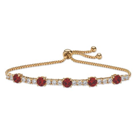 Gold-Plated Strand Bracelet Simulated Birthstone and Cubic Zirconia