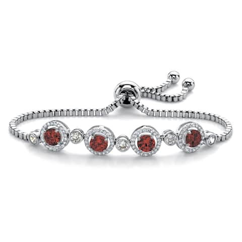 "Platinum-Plated Halo Bracelet (8mm), Birthstones and CZ, 9"" Adjustable"