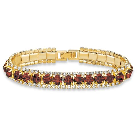 Gold Tone Tennis Bracelet (10mm), Round Birthstones and Crystal, 7""