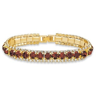 """Gold Tone Tennis Bracelet (10mm), Round Birthstones and Crystal, 7"""""""