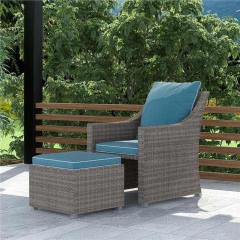 COSCO Outdoor Bluffs Grey 2-piece Lounge Chair and Ottoman Patio Set