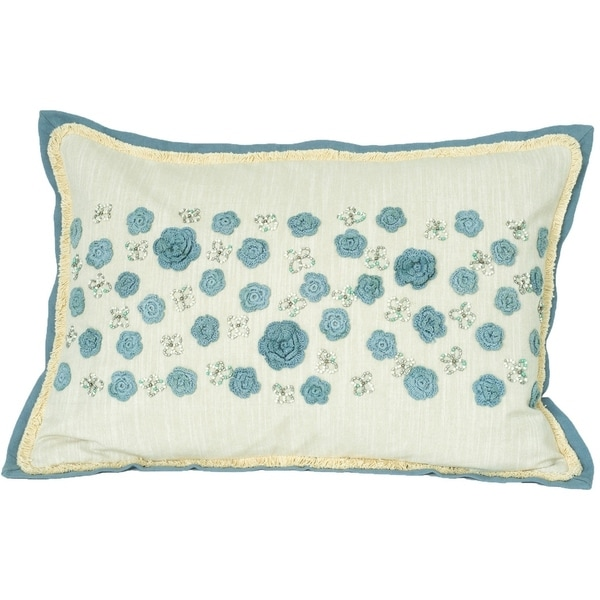 Handmade Floral Embroidered Down-Filled Decorative Pillow