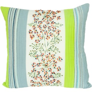 Embroidered Floral Cotyon Decorative Pillow