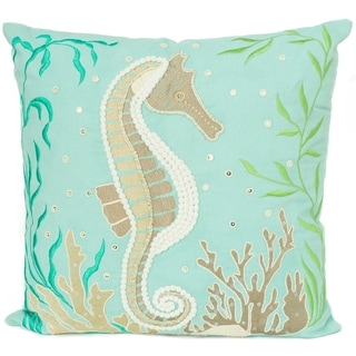 Coastal Seahorse Handmade Embroidered Decorative Pillow