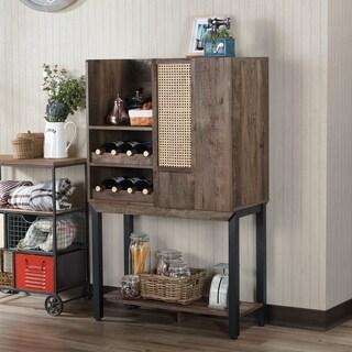 Furniture of America Santee Rustic Farmhouse Reclaimed Oak Kitchen Hutch