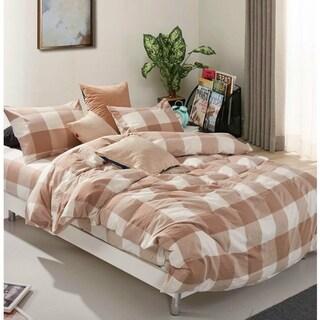 Serenta 100% Wash Cotton Plaid Windowpane Check 3 pc Duvet Cover Set