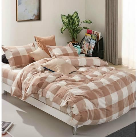 Copper Grove Gyumri Cotton Plaid Windowpane Check 3-piece Duvet Cover Set