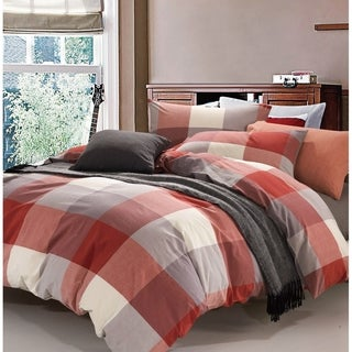 Serenta 100% Wash Cotton Plaid Windowpane Check 3 pc Duvet Cover Set