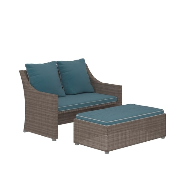 Incredible Shop Cosco Outdoor Bluffs Grey 2 Piece Patio Loveseat And Ocoug Best Dining Table And Chair Ideas Images Ocougorg