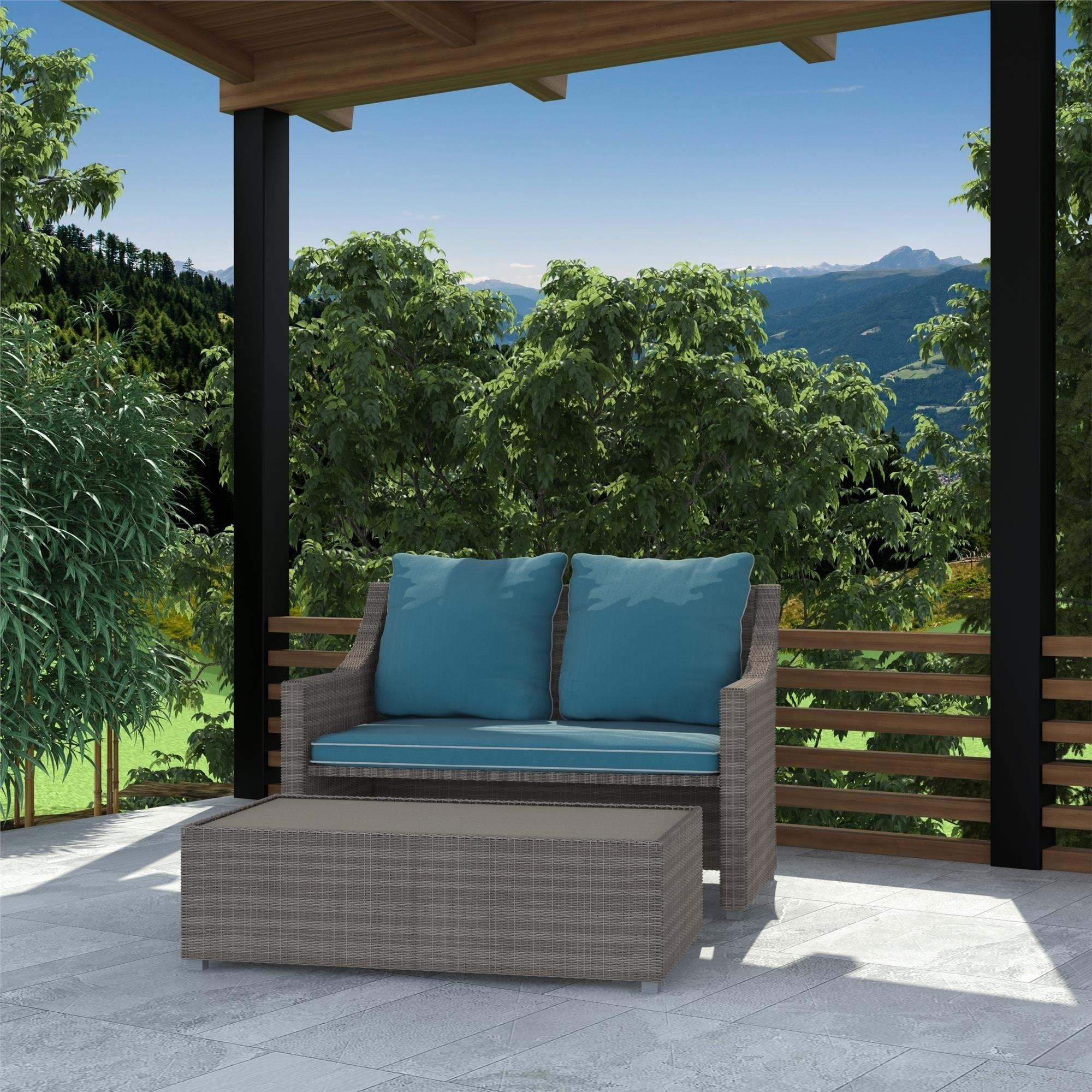 Excellent Cosco Outdoor Bluffs Grey 2 Piece Patio Loveseat And Ottoman Set Creativecarmelina Interior Chair Design Creativecarmelinacom