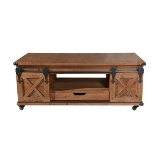 Presley Natural Brown 4-door with Drawer Coffee Table