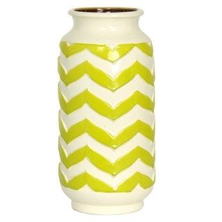 Chevron Patterned Green and White Ceramic Vase