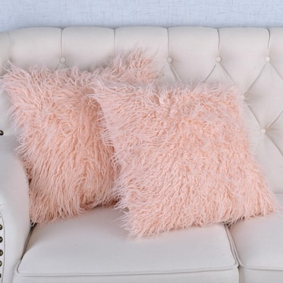 Silver Orchid Karenne Faux Fur Throw Pillow Covers (Set of 2)