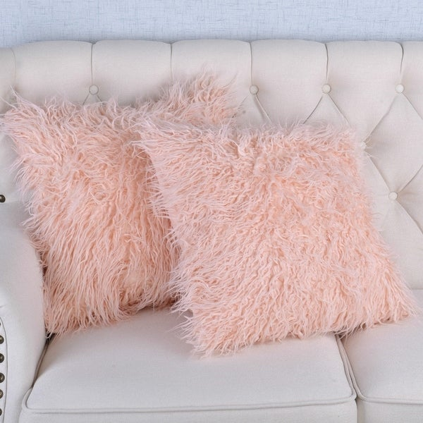 Silver Orchid Karenne Faux-Fur 2-piece Throw Pillow Cover Set. Opens flyout.