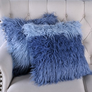 BOON Mongolian Tie Dyed Lamb Shaggy Faux-Fur 2 pc Throw Pillow Shell