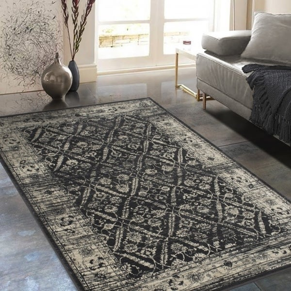 Shop Allstar Rugs Gray And Black Rectangular Accent Area