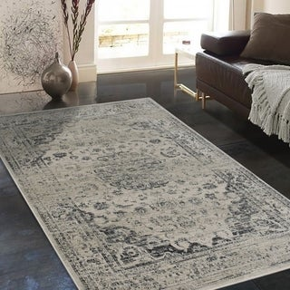 "Allstar Rugs Distressed  Beige and Cream Rectangular Accent Area Rug with Black Persian Design - 7' 6"" x 9' 8"""