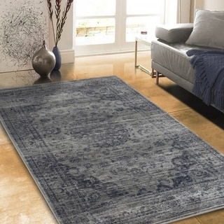 """Allstar Rugs Distressed Grey and Light Grey Rectangular Accent Area Rug with Navy Blue Persian Design - 4' 11"""" x 7' 0"""""""